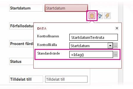Ange standardvärdet för ett datumfält i en Access-app.