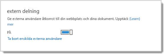Bild på aktiverings-/inaktiveringskontrollen för externa användares åtkomst till gruppwebbplats och dokument.