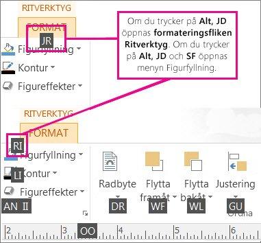 Nya tangentbordsgenvägar, med dubbla bokstäver, som öppnar fliken Ritverktyg.
