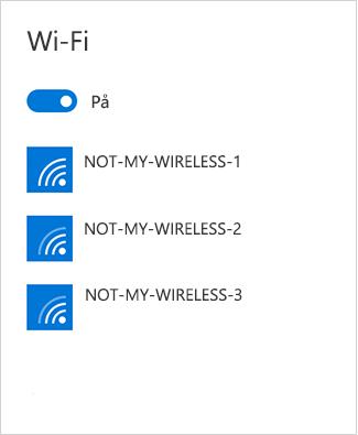 Det trådlösa nätverket visas inte