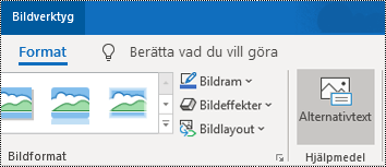 Knappen Alternativtext i menyfliksområdet i Outlook för Windows.
