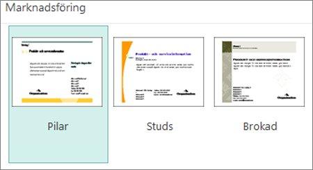 Vykortsmallar för marknadsföring för Publisher.