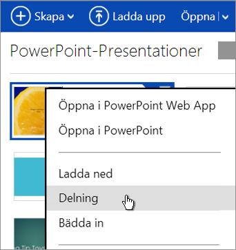 Dela en presentation