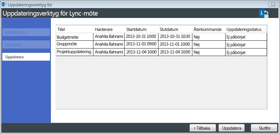 Skärmdump av uppdateringen av mötesmigreringsverktyget
