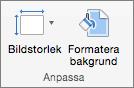 Skärmbild av gruppen Anpassa med alternativ för Bildstorlek och Formatera bakgrund.