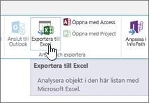 Knappen Exportera till Excel markerad i menyfliksområdet i SharePoint