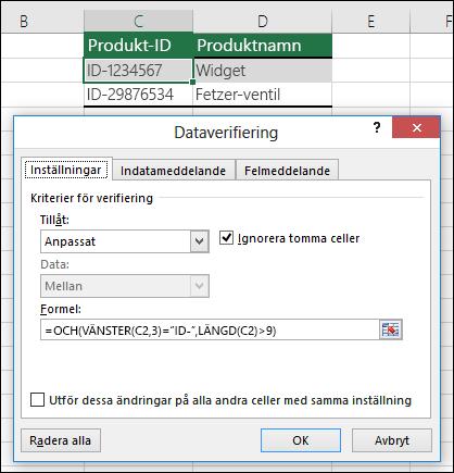 Exempel 6: Formler för dataverifiering