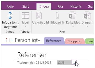 Skärmbild av hur du ändrar tidsstämpeln på en sida i OneNote 2016.
