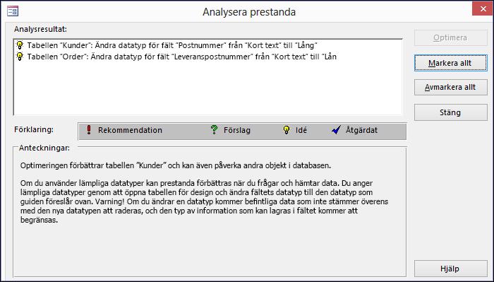 Dialogrutan med resultat för Analysera prestanda som körts på en Access-databas.