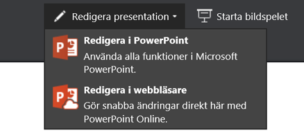 Redigera i webbläsaren med Redigera presentation