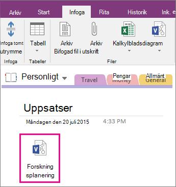 Skärmbild av hur du bifogar en Visio-fil till en sida i OneNote 2016.
