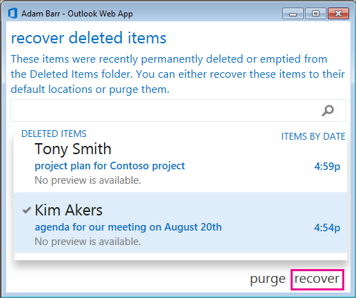 Dialogrutan Återskapa borttagna objekt i Outlook Web App