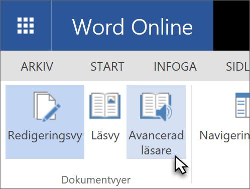 Öppna Verktyg för utbildning i Word Web App genom att välja fliken Visa