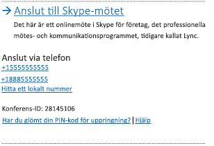 Användargränssnitt för att ansluta till Skype-möte