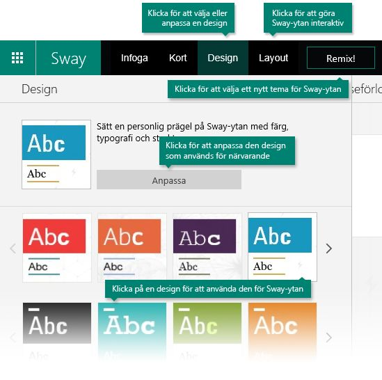 Design- och layoutalternativ i Sway