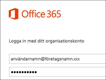 Inloggningsskärm till Office 365-portal