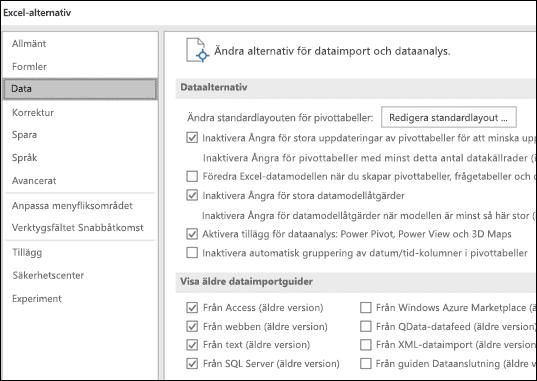 Dataalternativ har flyttats från Arkiv > Alternativ > Avancerat avsnitt till en ny flik som heter Data under Arkiv > Alternativ.