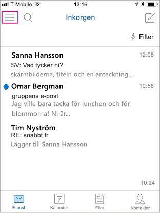 Outlook Mobile-startskärm med markerad menyknapp