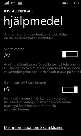 Skärmläsarinställningar på Windows Phone