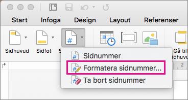 Formatera sidnummer genom att klicka på Sidnummer på fliken Sidhuvud och sidfot, och klicka sedan på Formatera sidnummer.