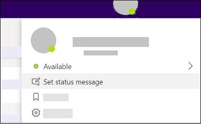 Ange status meddelande i Teams.