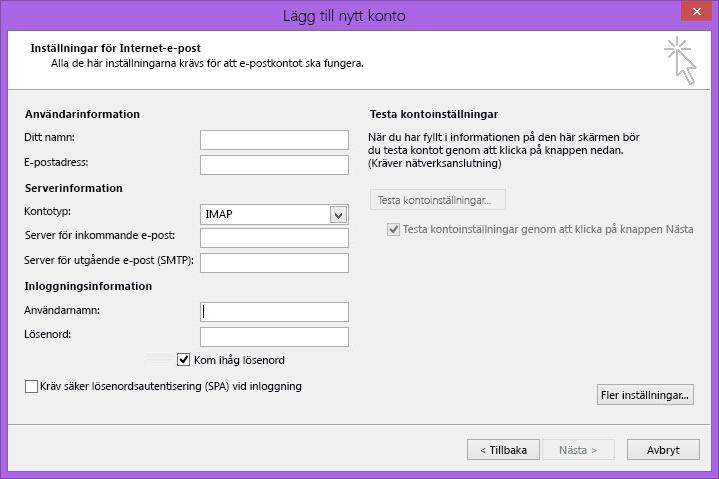 Outlook 2010, e-postinställningar för internet