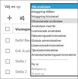 Välj den olicensierade användarens vy på listan Välj en vy.