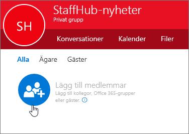 Lägga till medlemmar i StaffHub-gruppen i Outlook.