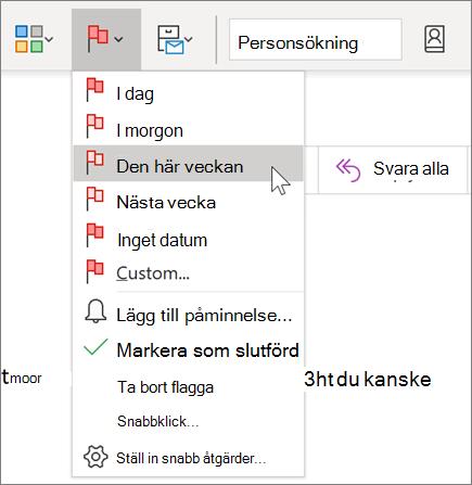 Flagga ett meddelande för uppföljning i Outlook