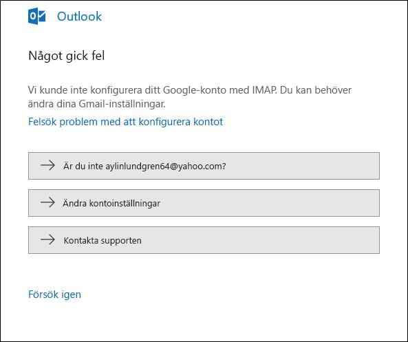 Något gick fel när ett e-postkonto skulle läggas till i Outlook.