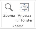 Gruppen Zooma på fliken Visa