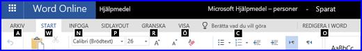 Menyfliksområdet i redigeringsvyn i WordOnline visar snabbtangenterna