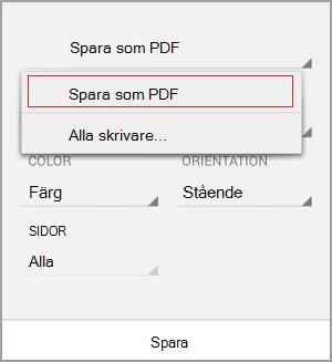 Välj Spara som PDF