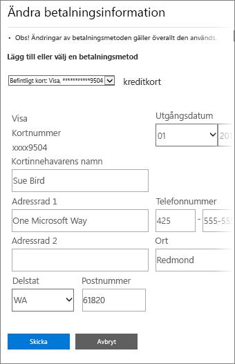 Sida med betalningsinformation för att uppdatera kreditkortsinformation.
