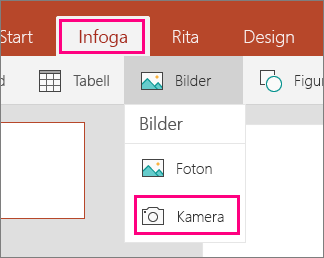 Visar alternativet  Infoga bild från kamera i Office Mobile för Windows 10