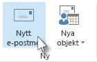 Kommandot Nytt e-postmeddelande i menyfliksområdet