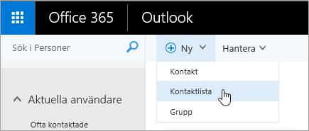 En skärmbild av snabbmenyn för knappen Ny med Kontaktlista markerat.