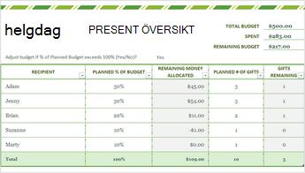 Bild av mallen semester lista i Excel