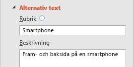 Alternativtext i PowerPoint för bildfunktion