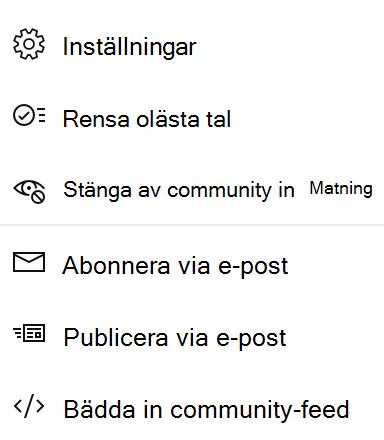 Skärm bild som visar avstängnings community för slutanvändare i ny Yammer