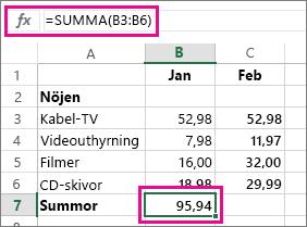 Exempel på Autosumma med resultat