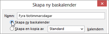 Skapa ny baskalender