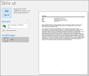 Förhandsgranskning av e-postmeddelande i Outlook