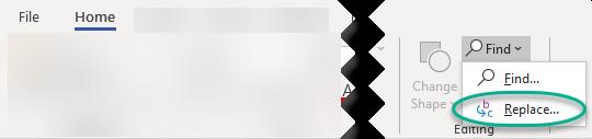 Kommandona Sök och ersätt visas längst till höger på fliken Start i gruppen redigering.