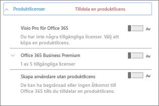 Avsnittet Produktlicenser med bara Office 365 Business Premium