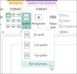 Avstånd mellan kolumner för Verktyg för textruta
