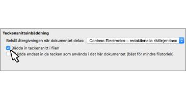 Dialogrutan Inbäddning av teckensnitt med kryssrutan för Bädda in teckensnitt i filen markerad