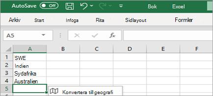 Visar konverteringarna till datatypen Geografi