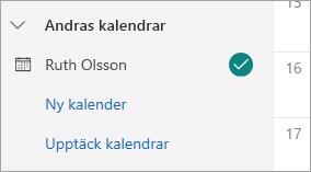 En skärmbild som visar andra personers kalendrar