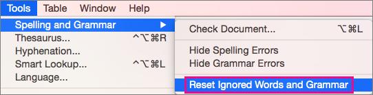 För att rensa listorna över ord som Word ignorerar klickar du på Återställ ignorerade Ord och grammatik.